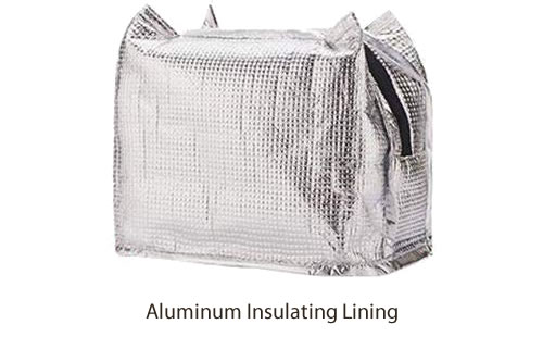 Aluminum Lining to keep everything cool (or warm)