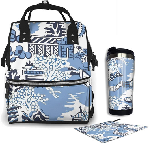Winter Blue Willow Back Pack Lunch Box, Winter Blue Willow Vacuum Car Cup and Winter Blue Willow Waterproof Reusable Snack Bag