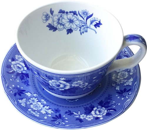 Spode Botanical teacup and saucer from the Georgian Blue Room Collection