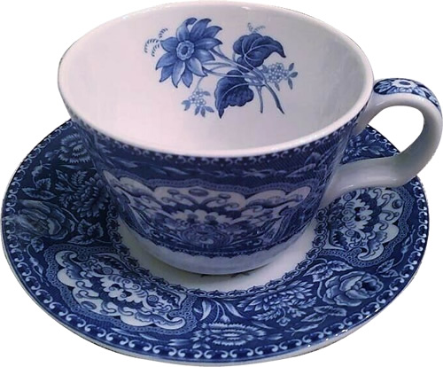 Spode Floral tea cup and saucer from the Georgian Blue Room Collection