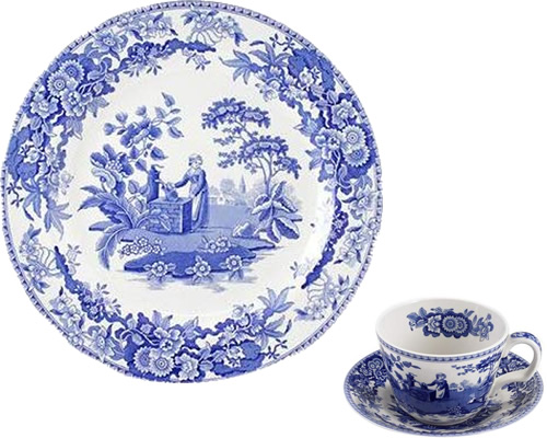Spode Girl at Well from the Georgian Blue Room Collection