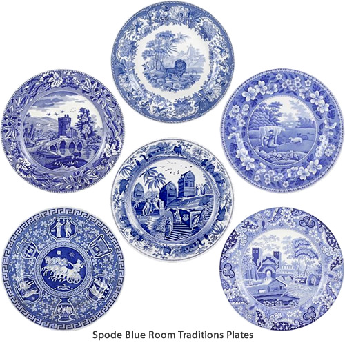 Castle, Milkmaid, Greek, Aesop's Fables, Lucano, and Caramanian from Spode Blue Room Traditions Collection