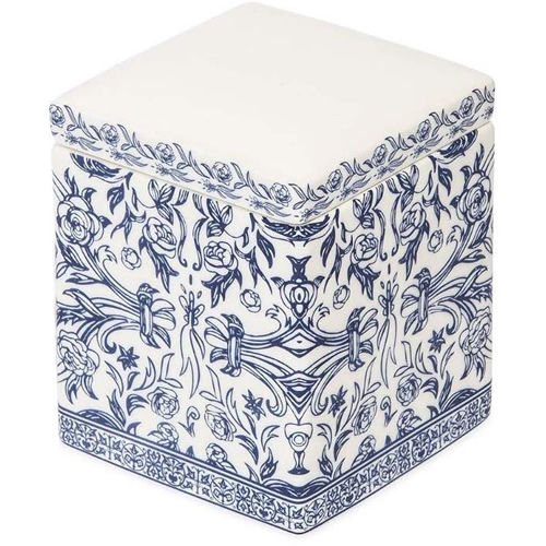 Orsay Fine Porcelain Blue and White Bath Square Box with Lid for Cotton Balls