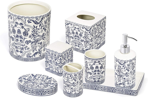 All eight pieces in the Orsay Fine Porcelain Bath Accessories in Blue on White