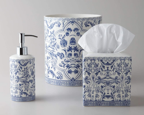 Orsay Fine Porcelain Blue and White Soap or Lotion Pump, Waste Basket and Tissue Cover Bath Accessory