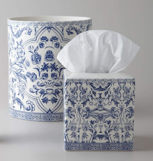 Orsay Fine Porcelain Blue and White Trash Container and Tissue Cover Bath Accessory