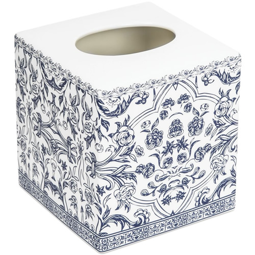 Orsay Fine Porcelain Blue and White Tissue Cover Bath Accessory