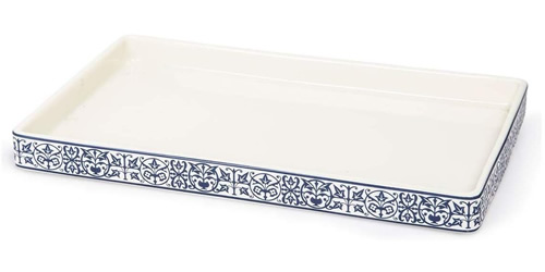 Orsay Fine Porcelain Blue and White Tray Bath Accessory