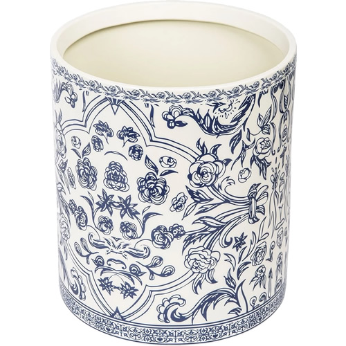 Orsay Fine Porcelain Blue and White Waste Basket Bath Accessory
