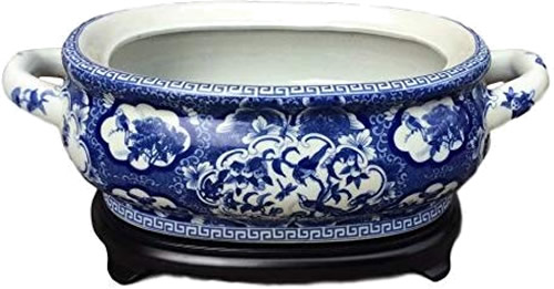 Asian Caravan Blue and White Bird and Flower Porcelain Footbath with Base