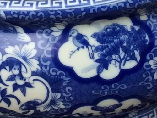 Detail on Asian Caravan Blue and White Bird and Flower Porcelain Footbath with Base