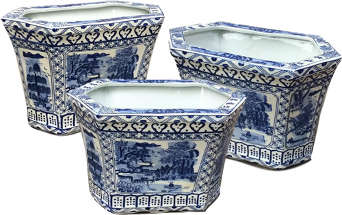 Asian Caravan Blue Willow Canton Cachepot Planters