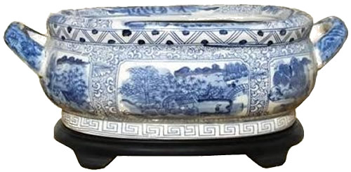 Asian Style Furnishing Landscape Scene Blue and White Porcelain Foot Basin with Stand