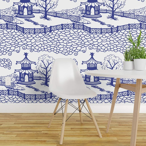 Pagoda Cloud Fretwork wallpaper in Cobalt by Danika Herrick from Roostery and Spoonflower