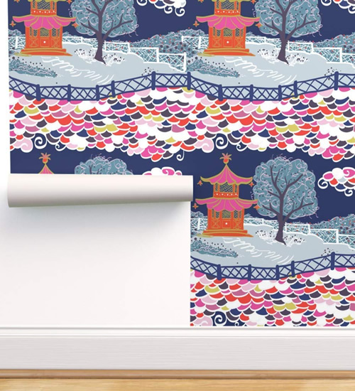 Cloud Pagoda wallpaper in Vibrant by Danika Herrick from Roostery and Spoonflower