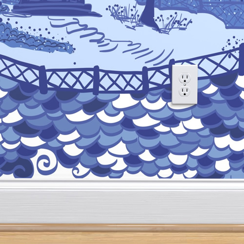 Cloud Pagoda wallpaper in Blues by Danika Herrick from Roostery and Spoonflower