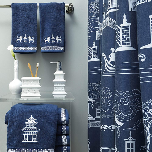 Vern Yip Chinoiserie Hand Towels, Bath Accessories, Bath Towels and Shower Curtain