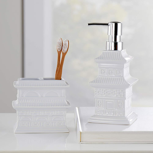 Vern Yip Chinoiserie Stoneware Toothbrush Holder and Soap Dispenser