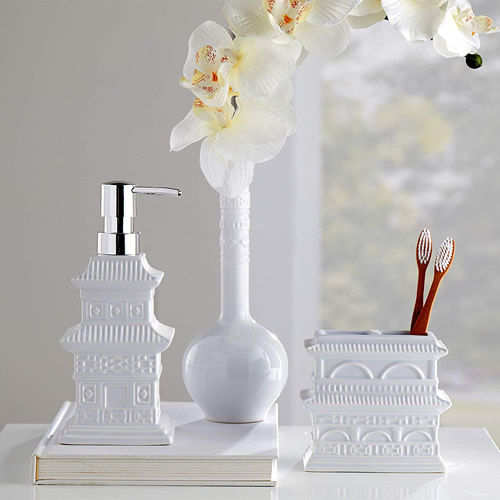 Vern Yip Chinoiserie Stoneware Soap Pump, Bud Vase and Toothbrush Bath Accessories