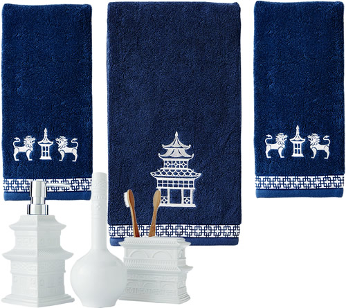 Vern Yip Chinoiserie Bath Towels and Bath Accessories
