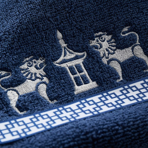 Embroidered Pagoda and Foo Lion Detail on Vern Yip Chinoiserie Hand Towels