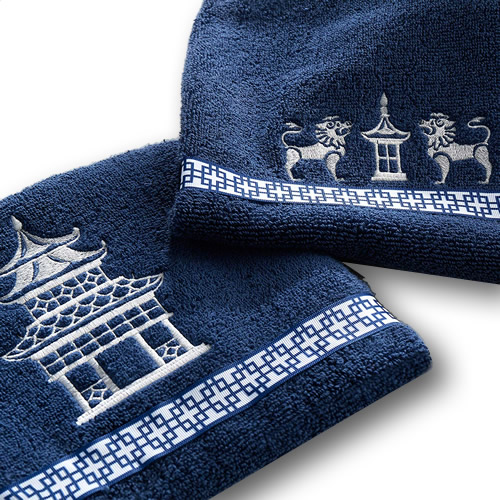 Embroidered Pagoda and Foo Lion Detail on Vern Yip Chinoiserie Bath and Hand Towels