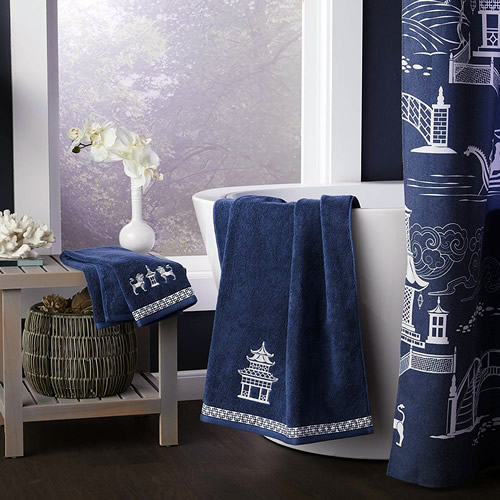 Vern Yip Chinoiserie Hand Towel, Bath Towel and Shower Curtain