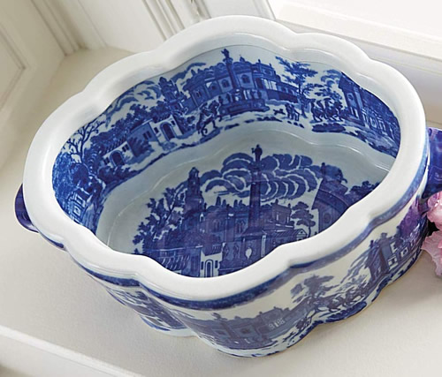 Inside Winward Blue and White Porcelain Oval Scenic Planter