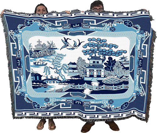 "The Blue Willow Throw Blanket from Pure Country Weavers is large, 72"" x 54"""