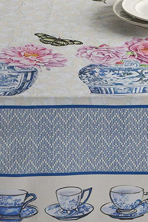 Detail of top and side of Maison d' Hermine Canton Tablecloth