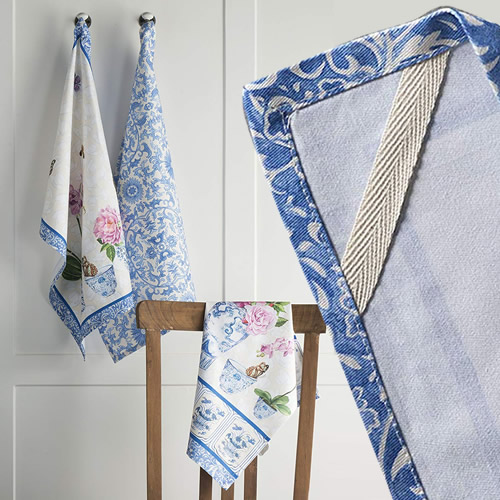Maison d' Hermine Canton Kitchen Towels have a grosgrain ribbon loop in one corner to allow you to easily hang the towels on a hook.