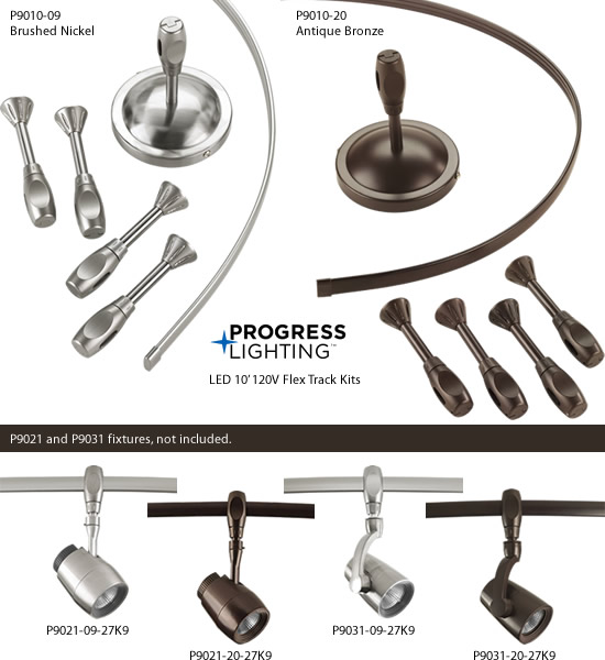 Progress Lighting P9010-09, P9010-20 LED 10' 120V Flex Track Kit
