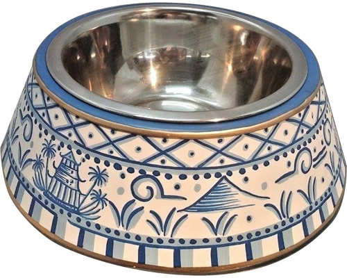Blue Willow Metal Chinoiserie Dog Bowl from eBay