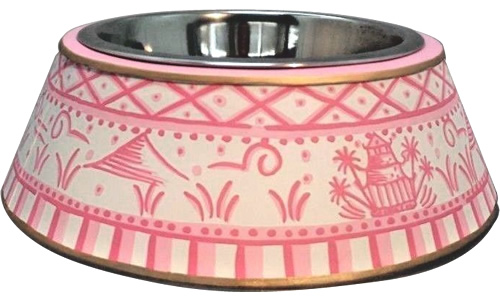 Pink Willow Metal Chinoiserie Dog Bowl from eBay
