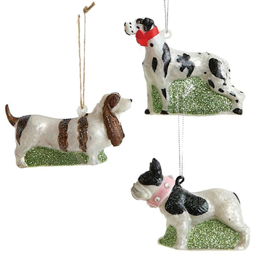 Hand-Painted Brittany Spaniel, Cocker Spaniel and Bull Dog Ornaments