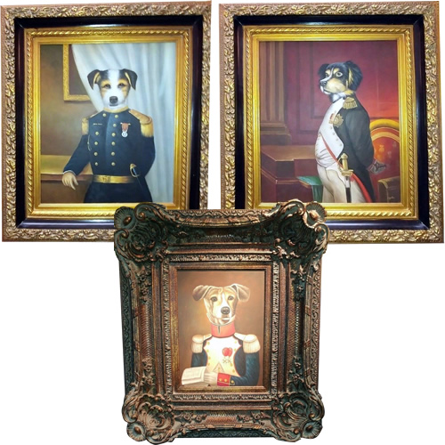 Vintage Military Dog Oil Paintings
