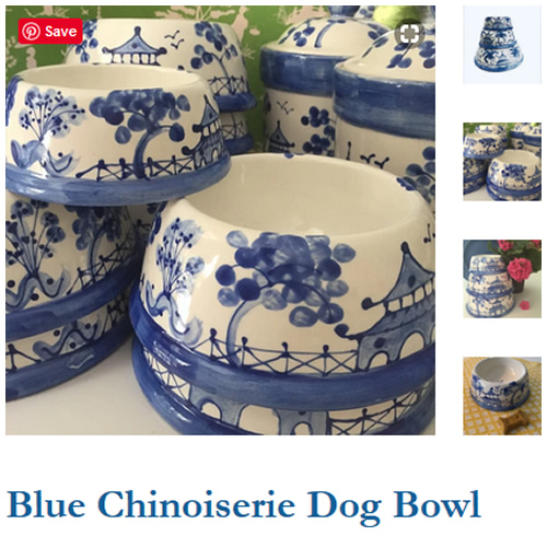 Blue Chinoiserie Dog Bowls from Indigo Home Shop