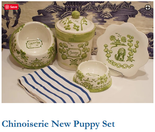 Green Chinoiserie Personalized New Puppy Dog Dishes and Treat Container from Indigo Home Shop