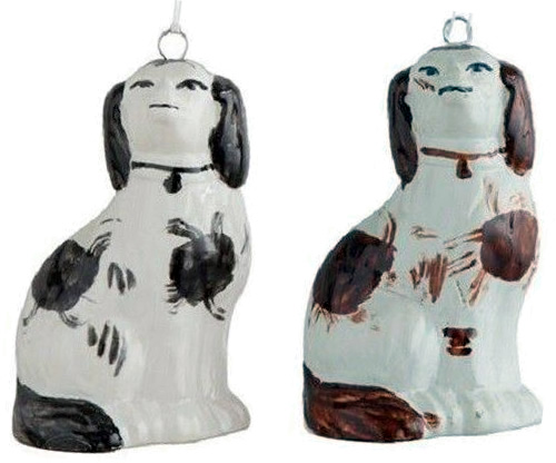 Staffordshire Dog Ornaments Cavalier King Charles Spaniels in White and Black and White and Brown