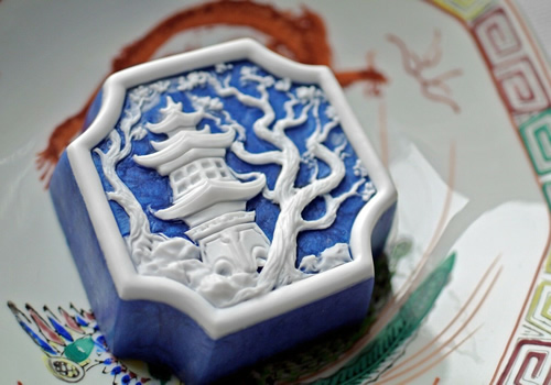 Blue Willow Soap Oriental Pagoda Temple with Plum Tree Soap Handmade Soap in Lapis Color
