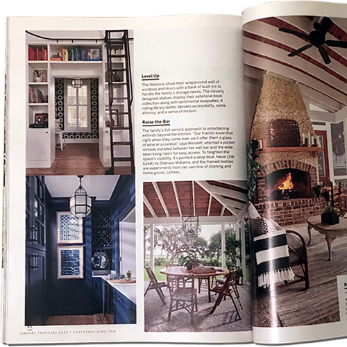 January/February 2020 issue of Southern Living article Farmhouse on the Water by Valerie Rains with Photographs by Hector Manuel Sanchez and Styling by Elizabeth Demos shows a McGee & Co. Morris Lantern in the