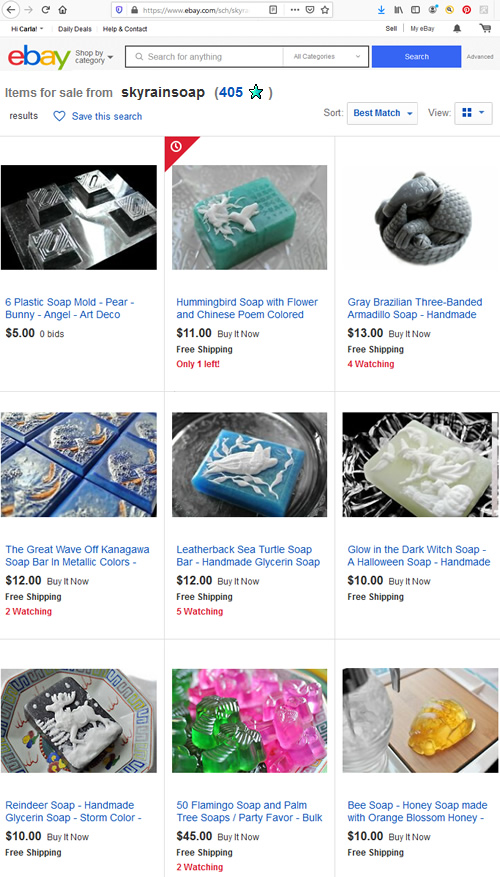 SkyRainSoap on eBay