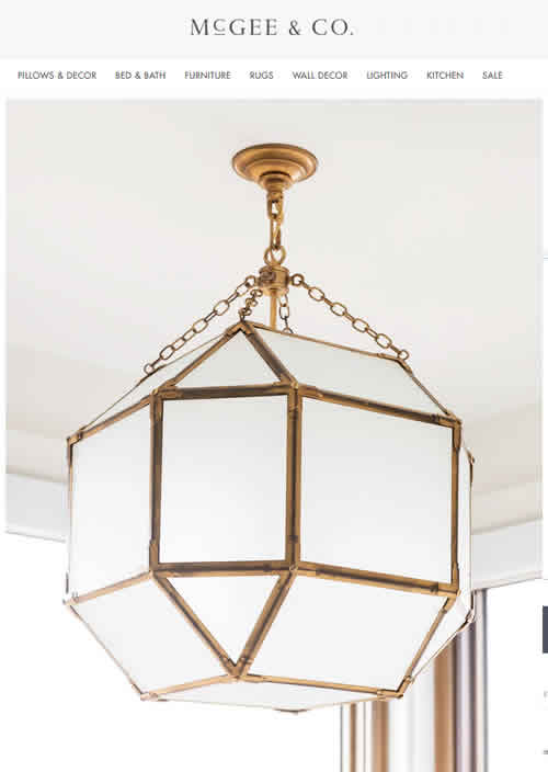 McGee & Co. Morris Lantern in Gilded Iron with White Glass