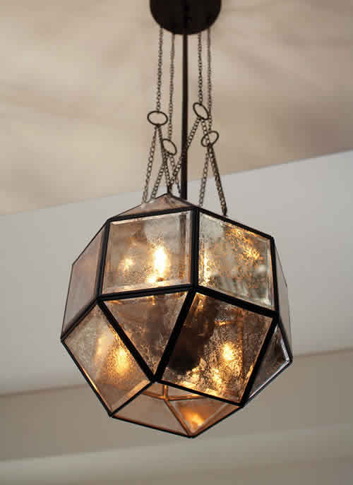 Looking up at a mercury glass Lazlo pendant from Seagull Lighting