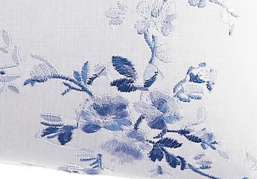 Closeup of the embroidered Breakfast Pillow from Laura Ashley Charlotte