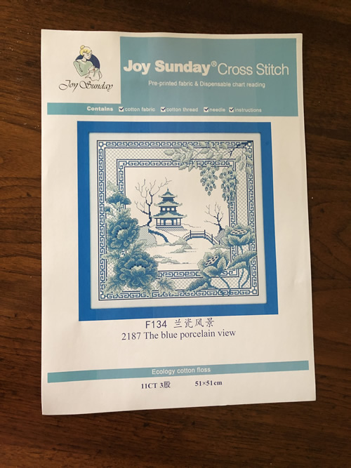 Blue Willow Crossstitch Kit Instructions for Pre-Printed Fabric Cross Stitch