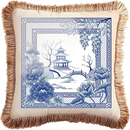 Awesocrafts Blue Willow Pagoda Cross Stitch Kit made into a pillow