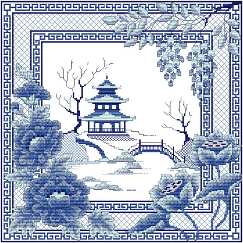 Awesocrafts Blue Willow Cross Stitch Kit with Pagoda, Bridge, florals and bands