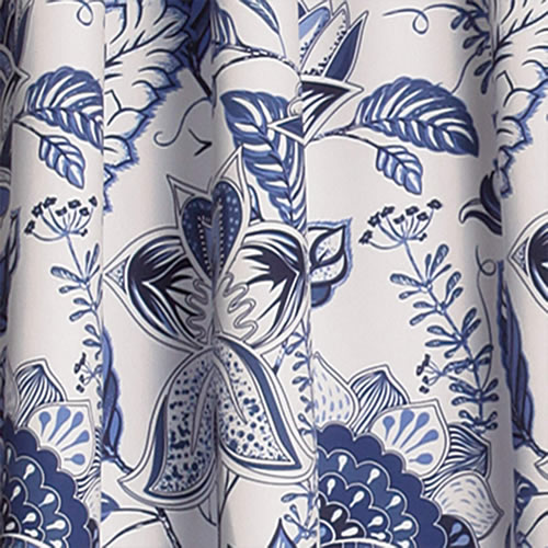 Swatch of Lush Decor Jacobean Blue and White curtain fabric