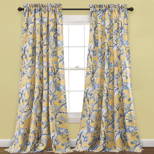 Lush Decor Blue and White with Yellow Background curtains